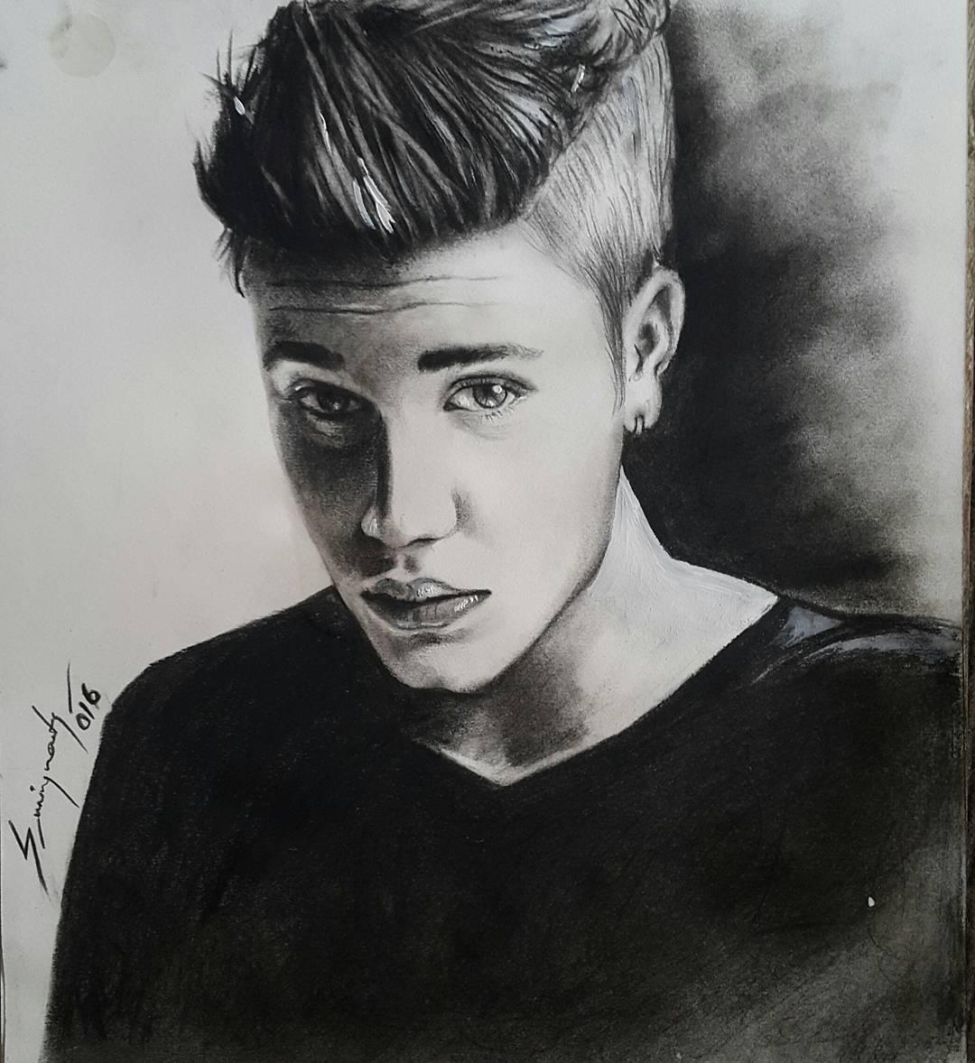 Justin Bieber Portrait Drawing, Tattoo Artist in Nepal