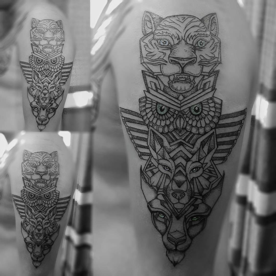 Geometrical totem tattoo in nepal, Tattoo Artist in Nepal