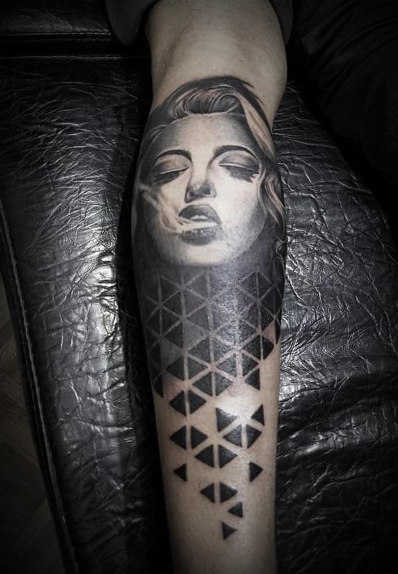 Smoking Lady Sleeve Tattoo, Tattoo Artist in Nepal