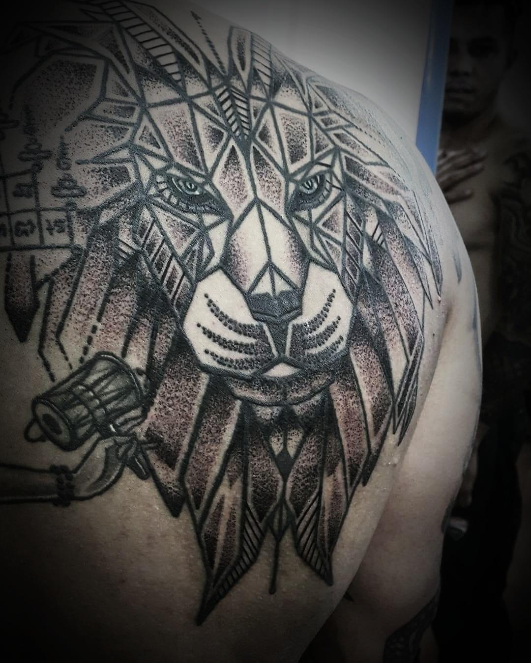 Lion Geometrical Tattoo, Tattoo Artist in Nepal