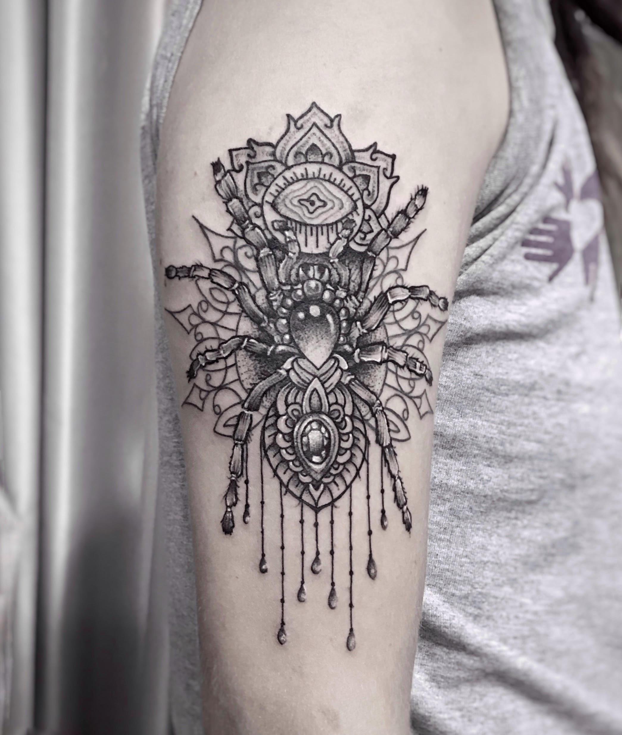Ornamental Spider Tattoo Nepal by Sumina Shrestha